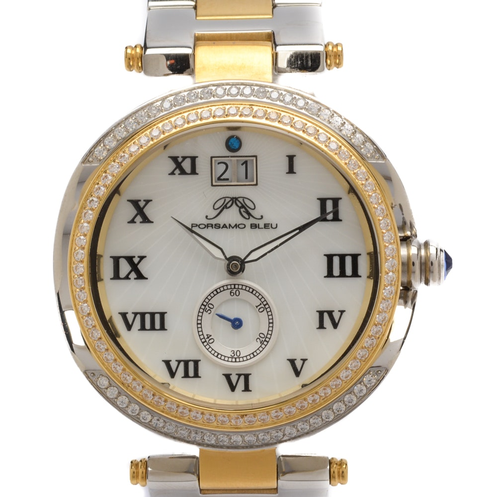 Porsamo Bleu South Sea Swarovski Crystal Two-Tone Bracelet Watch