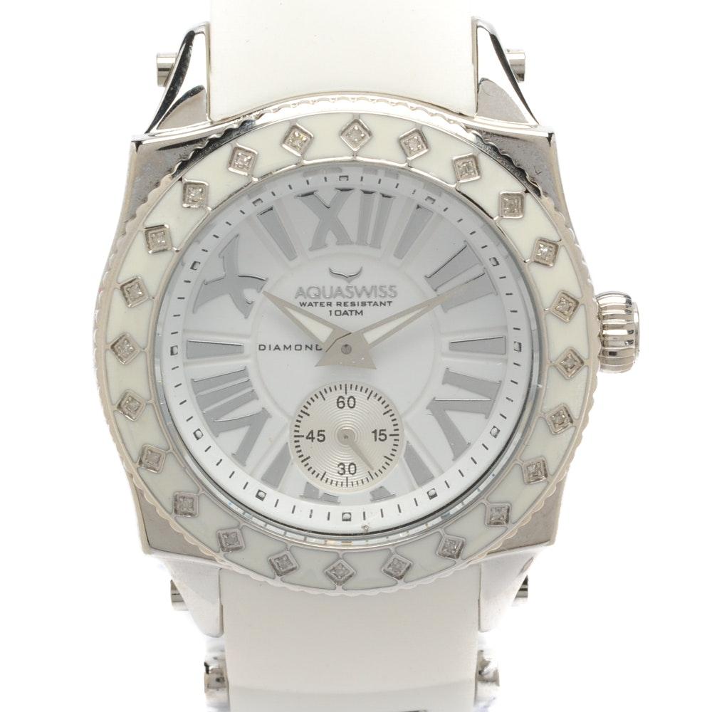 """Aquaswiss """"Swissport L24"""" Wristwatch with Diamond-Accented Bezel"""