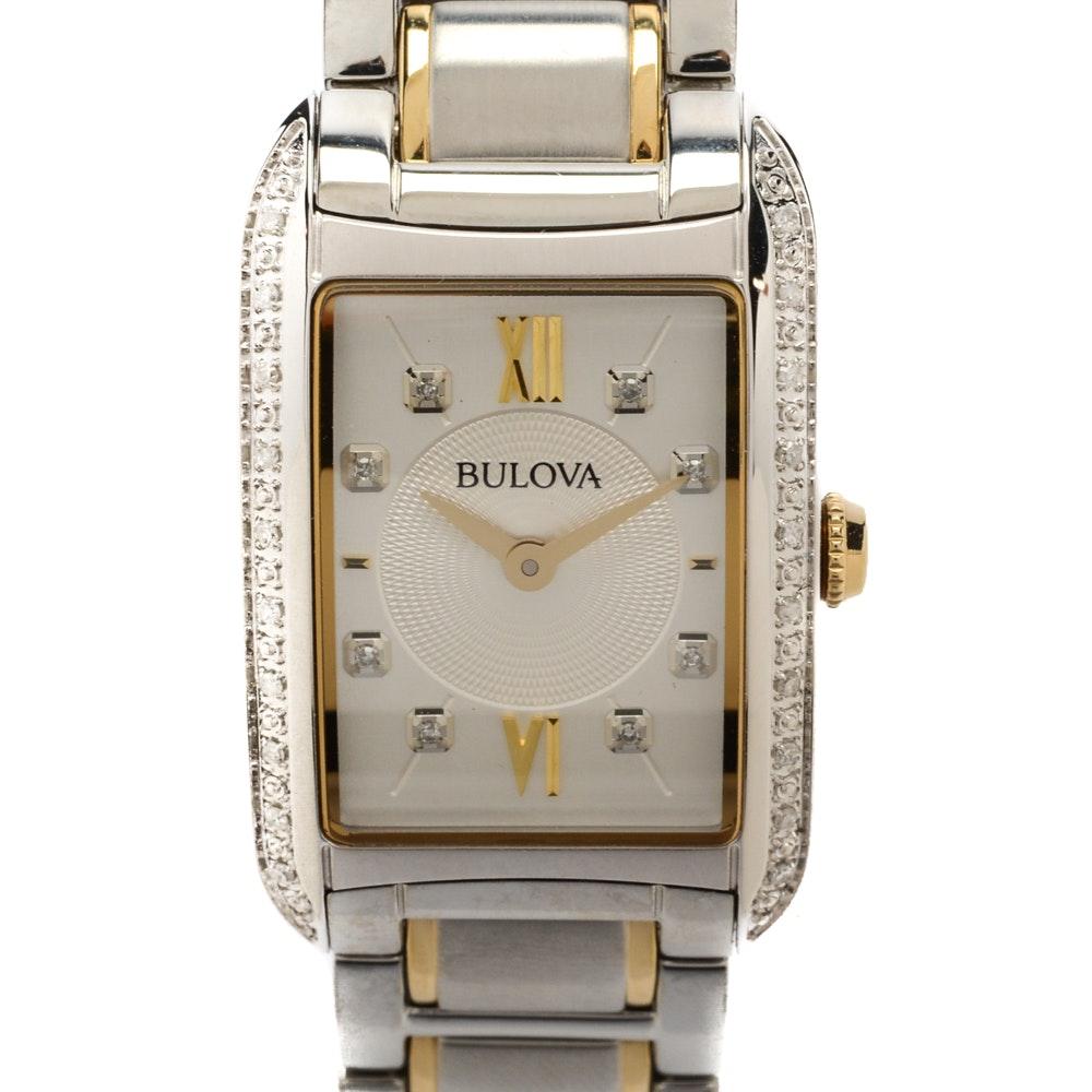 Bulova Two Tone Wristwatch with Diamond Accents