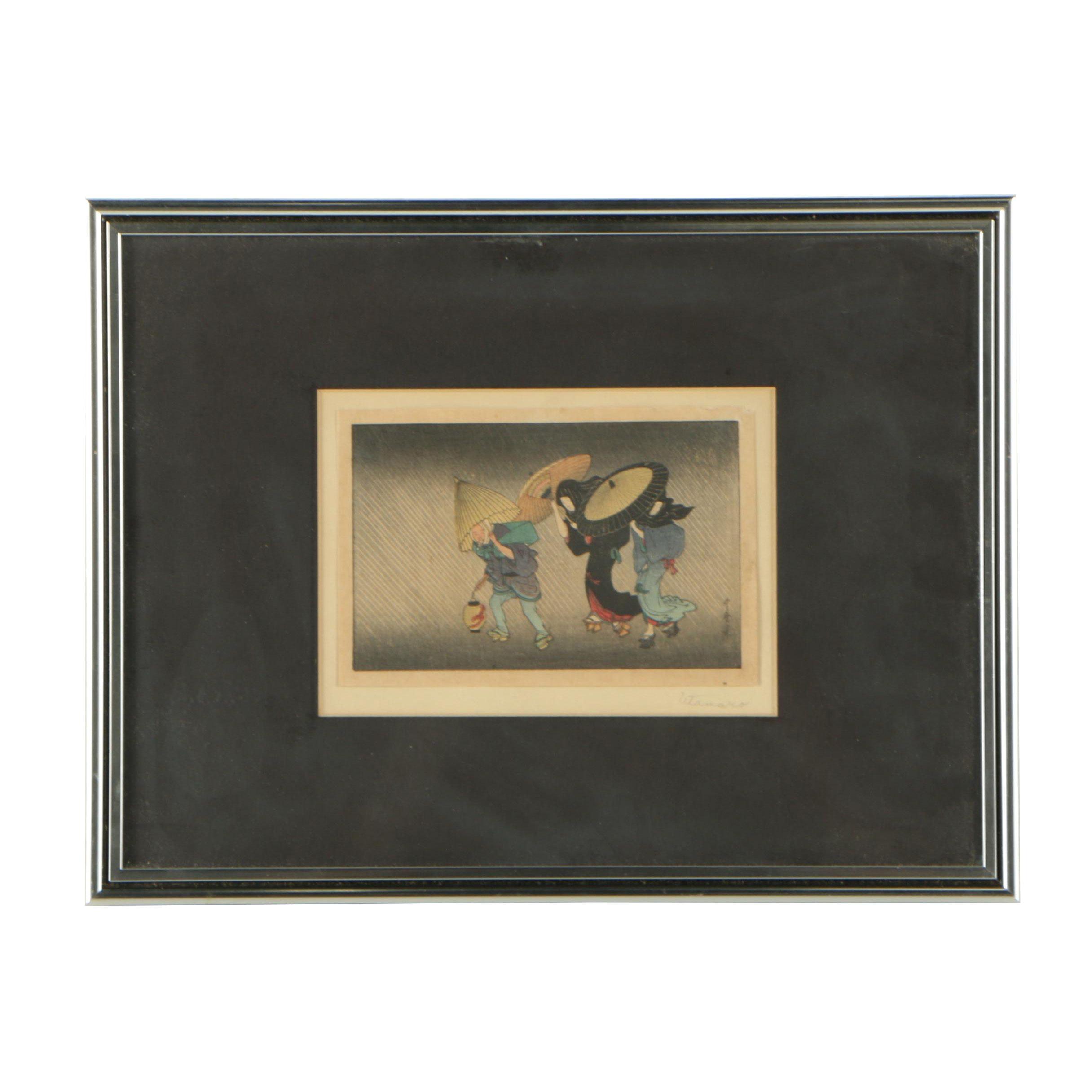 "Woodblock Print After Kitagawa Utamaro ""In the Storm"""
