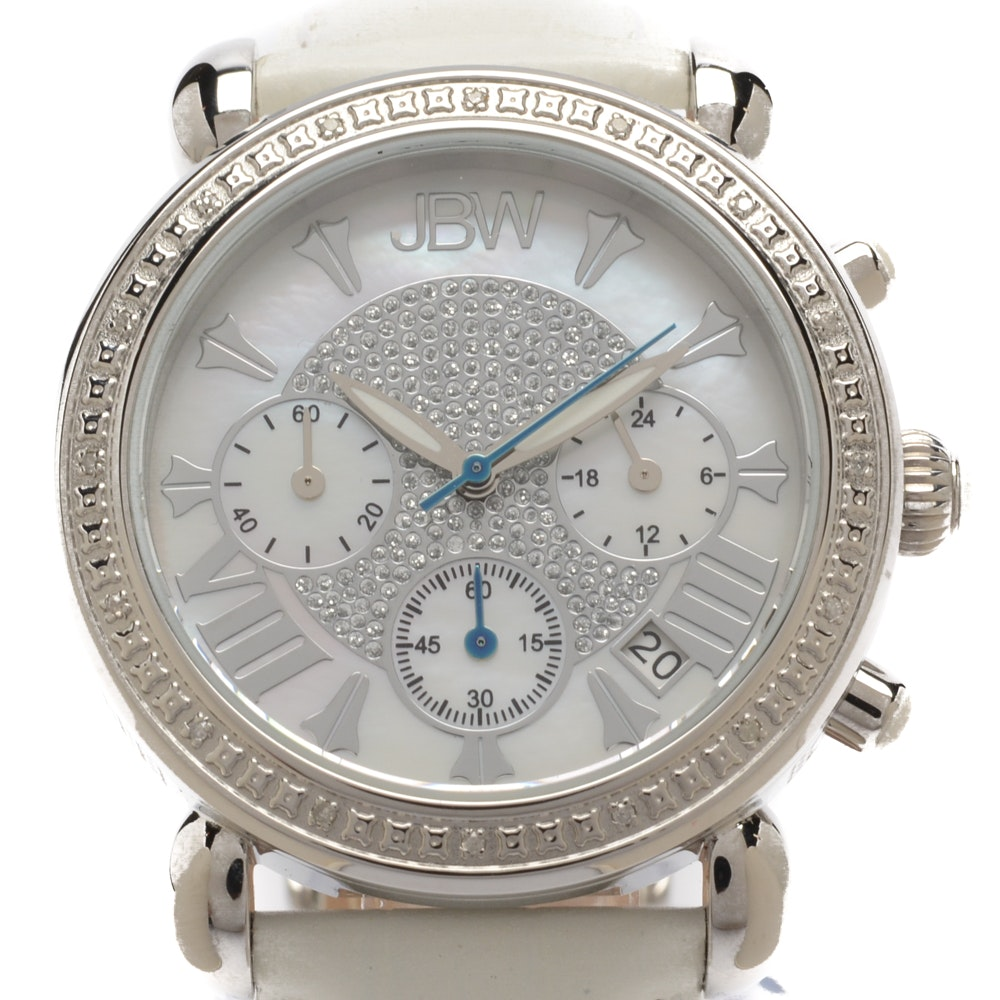 "JBW ""Victory"" Wristwatch with Diamond-Accented Bezel and Mother of Pearl Dial"