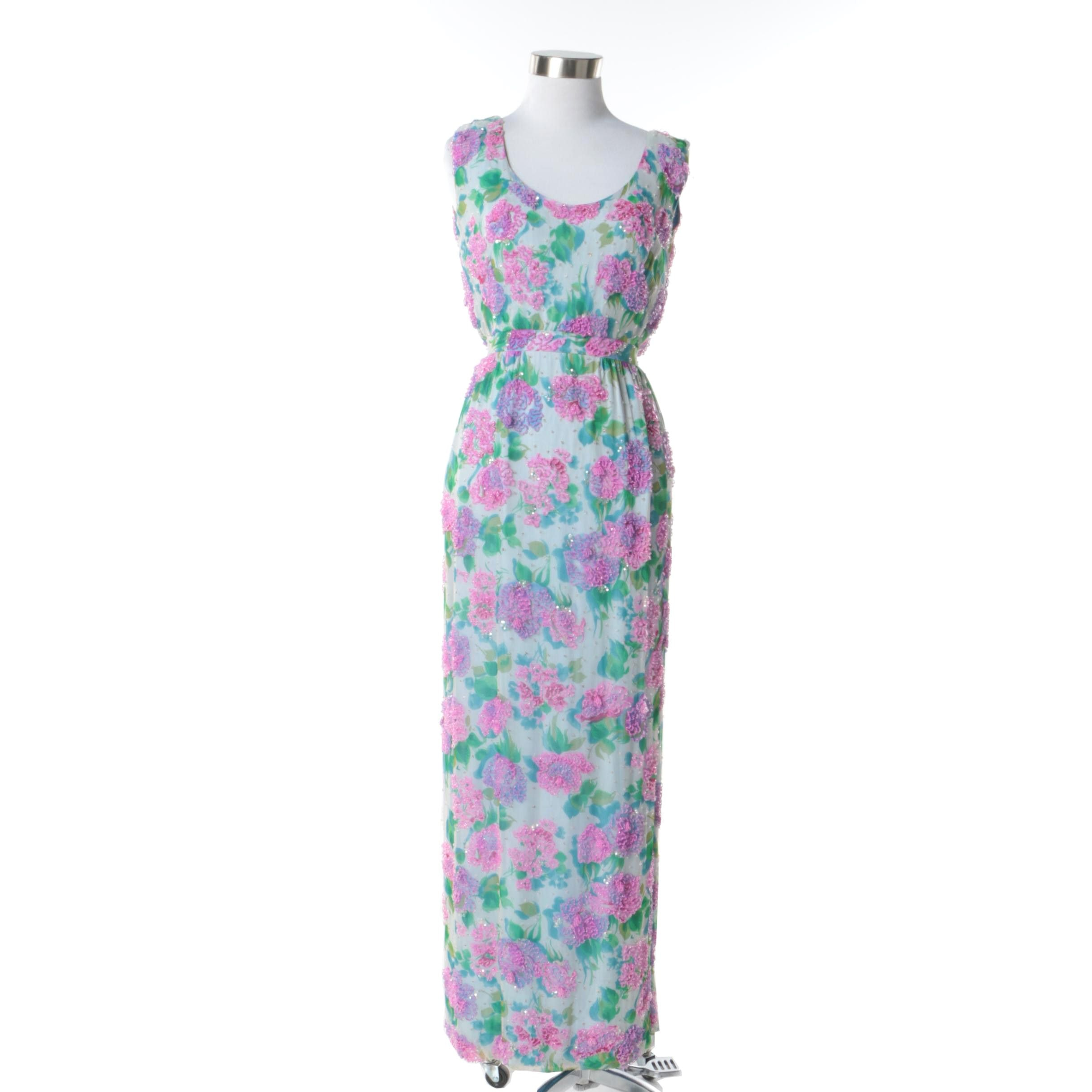 1960s Vintage Malcolm Starr Beaded and Sequined Floral Sleeveless Gown