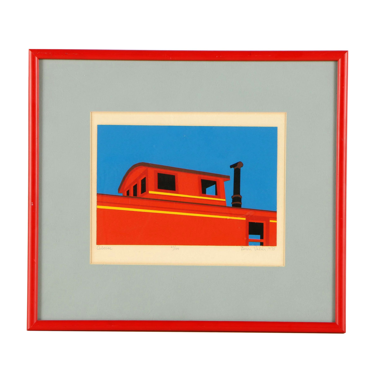 "Biron Valier 1975 Serigraph ""Caboose"""
