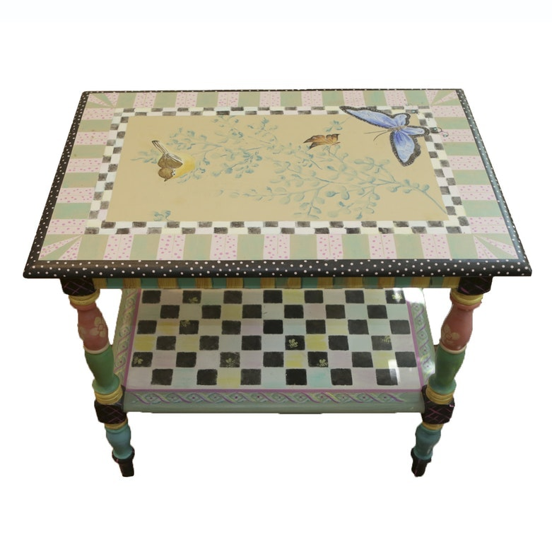 Hand Painted in The Style of Mackenzie-Childs Butterfly Motif Side Table