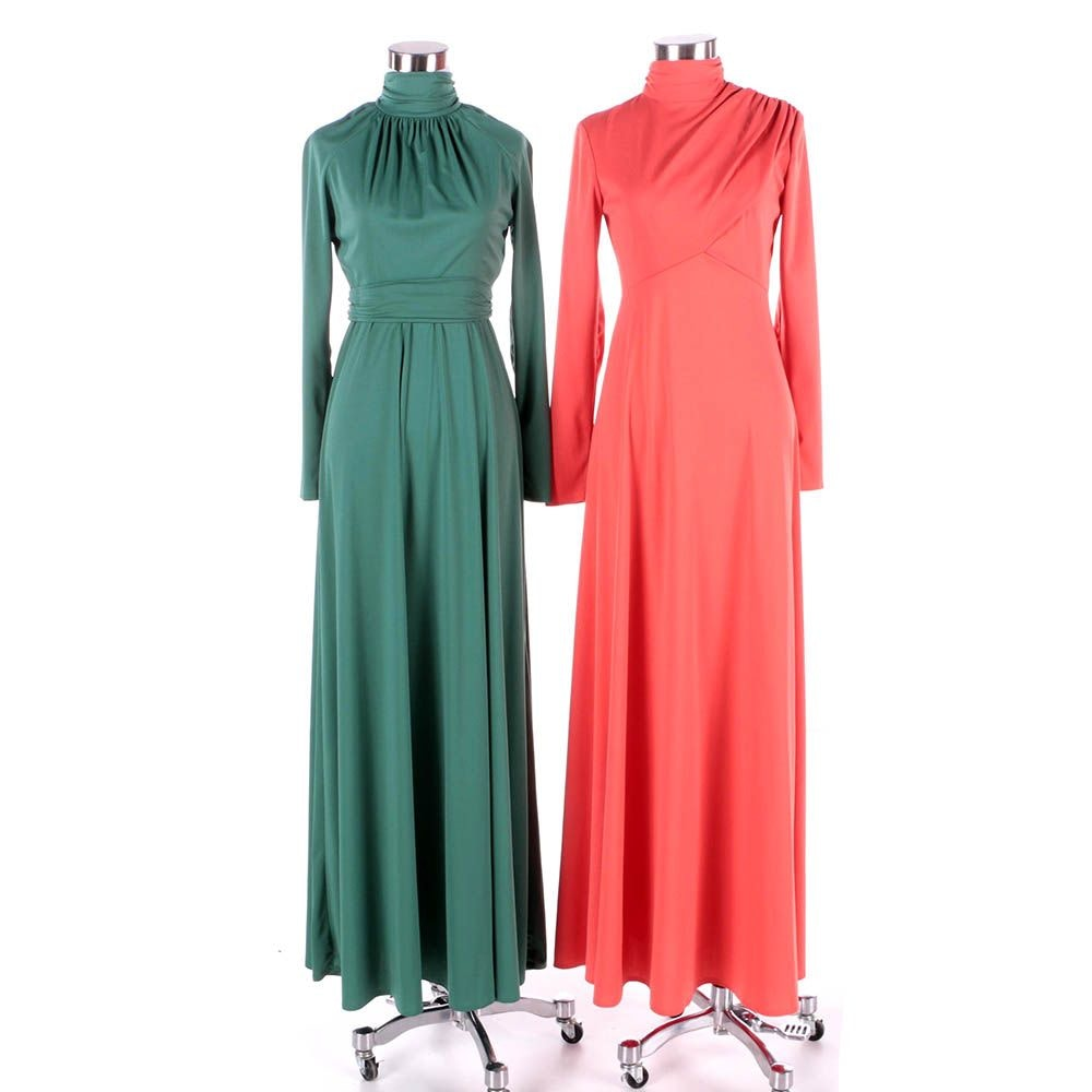 1970s Vintage House of Bianchi Tangerine Orange and Emerald Green Maxi Dresses
