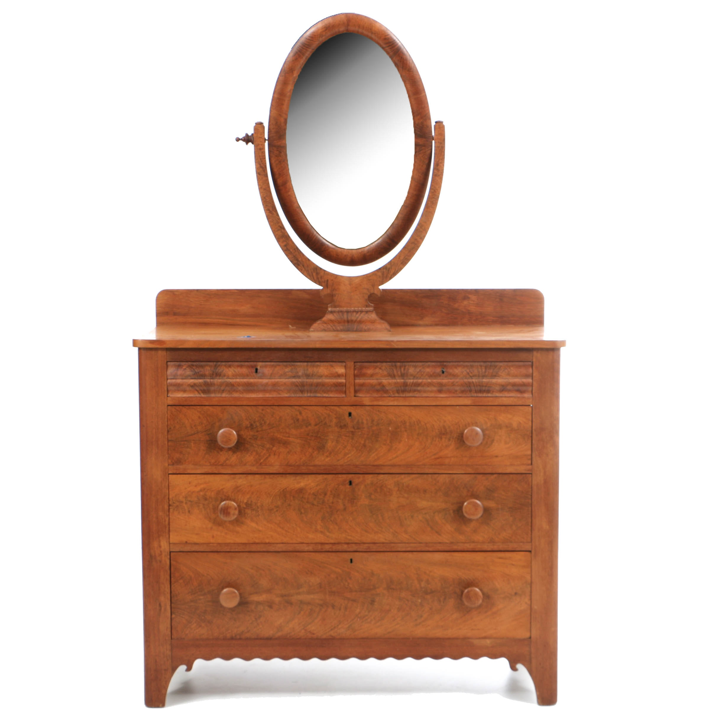 Antique Transitional Empire-to-Victorian Mahogany Dresser with Mirror