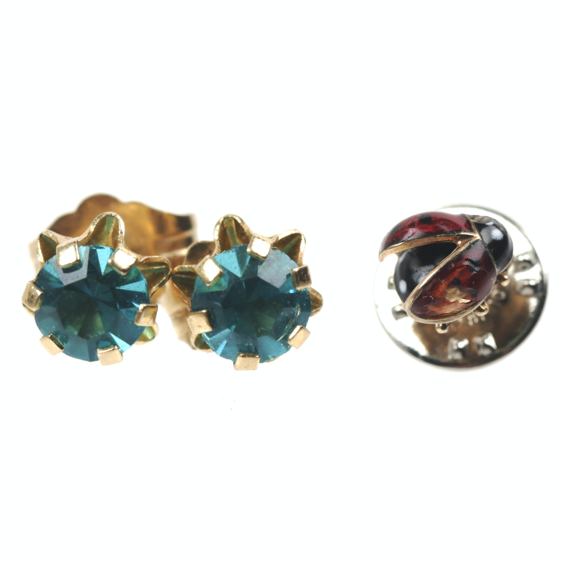 14k Yellow Gold Rhinestone Earrings and Enamel Ladybug Pin