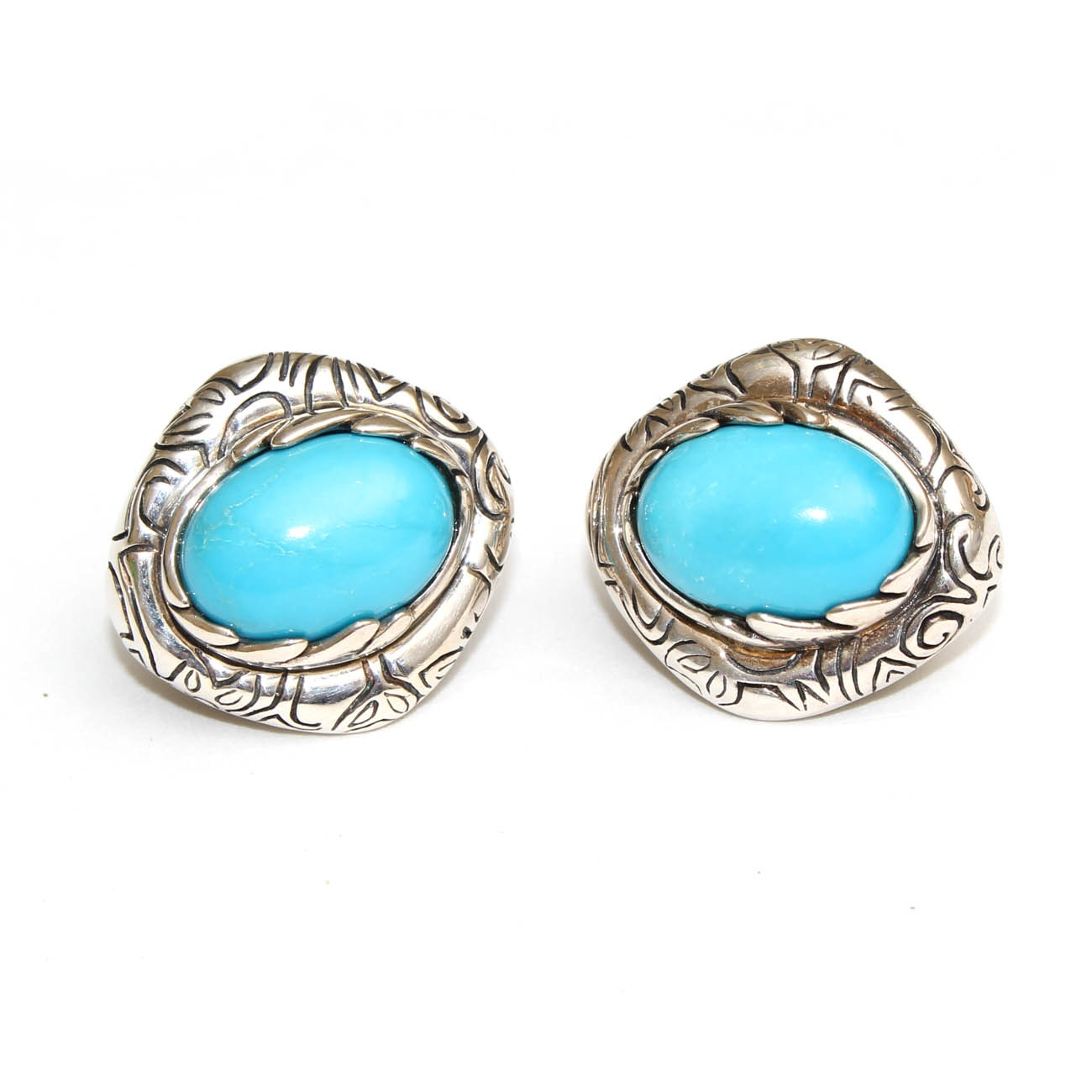 Jean Lin Sterling Silver and Turquoise Omega Earrings