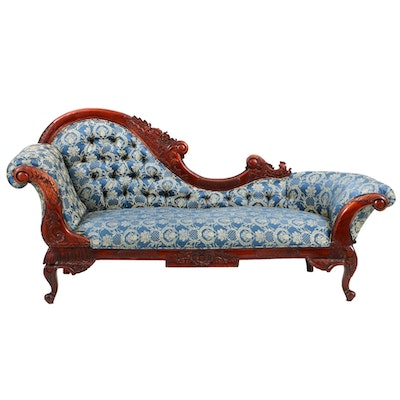 Vintage Rococo Style Carved Mahogany and Button-Tufted Chaise Lounge