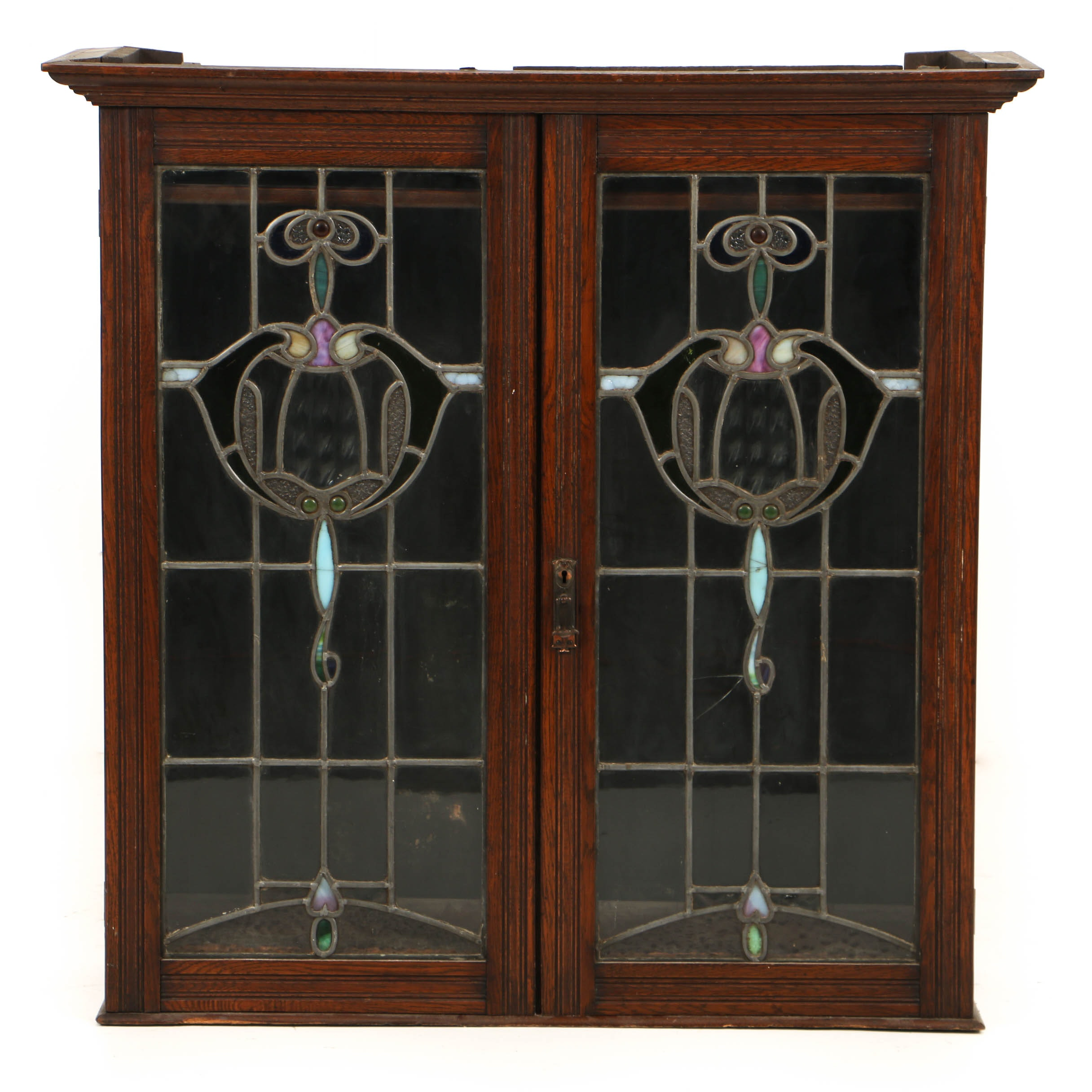 Antique Art Nouveau Oak Cabinet with Leaded and Stained Glass Doors