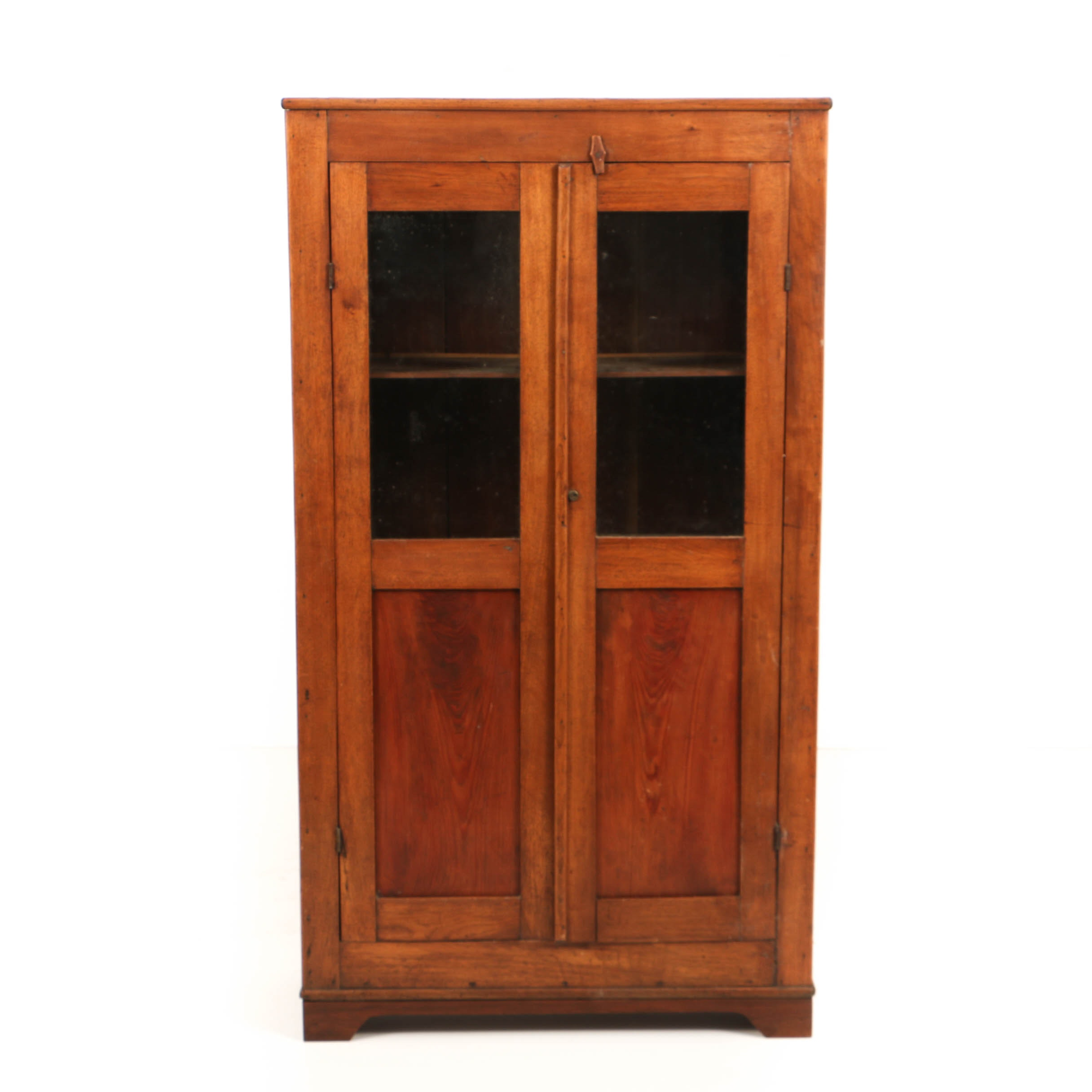 Antique Walnut and Pine Glazed-Door Cupboard