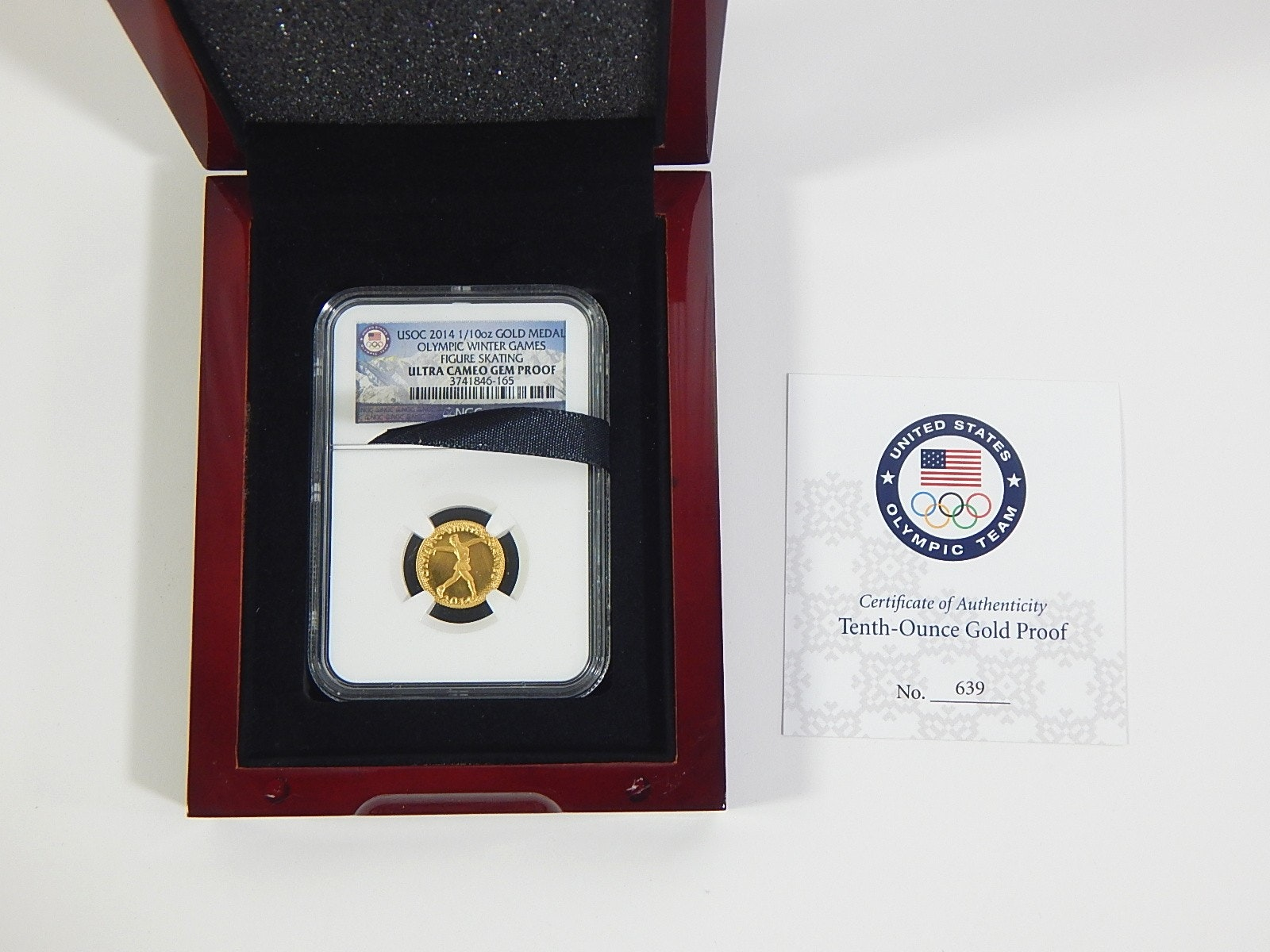 2014 1/10 Oz Gold Medal Olympic Winter Games Figure Skating Proof