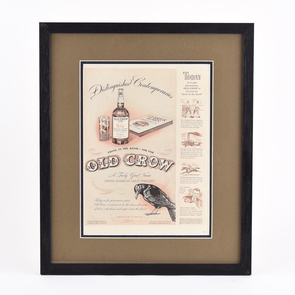 Original 1941 Old Crow Whiskey Ad