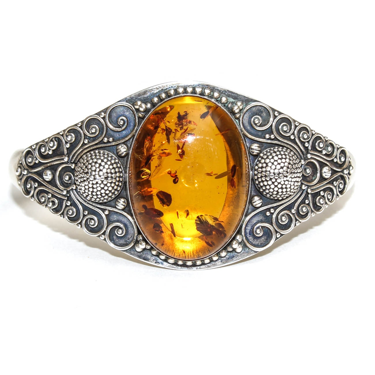 Suarti Sterling Silver and Amber Cuff Bracelet