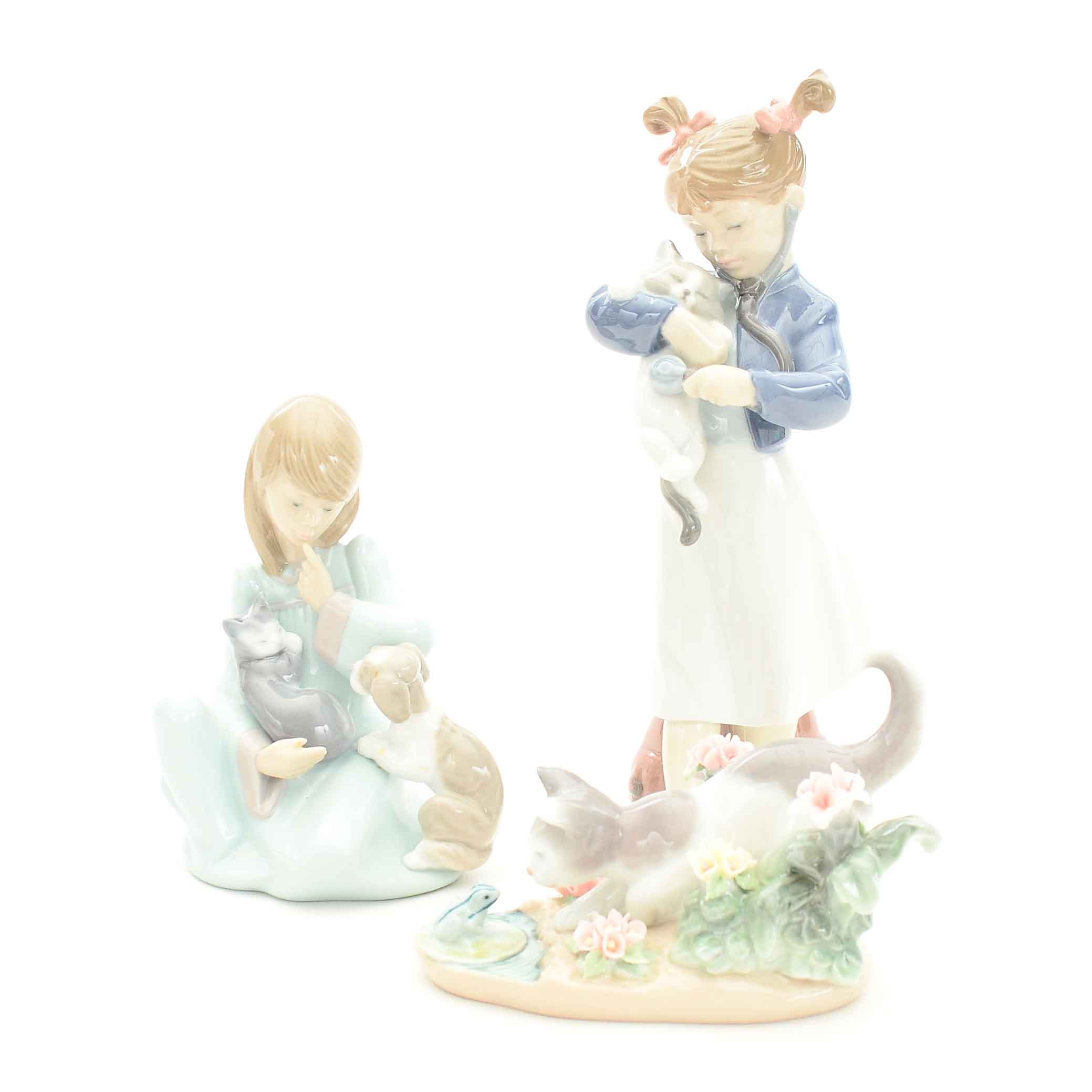 """Lladro """"Kitty Confrontation"""", """"Cat Nap Girl"""", """"You'll Feel Better"""" Figurines"""