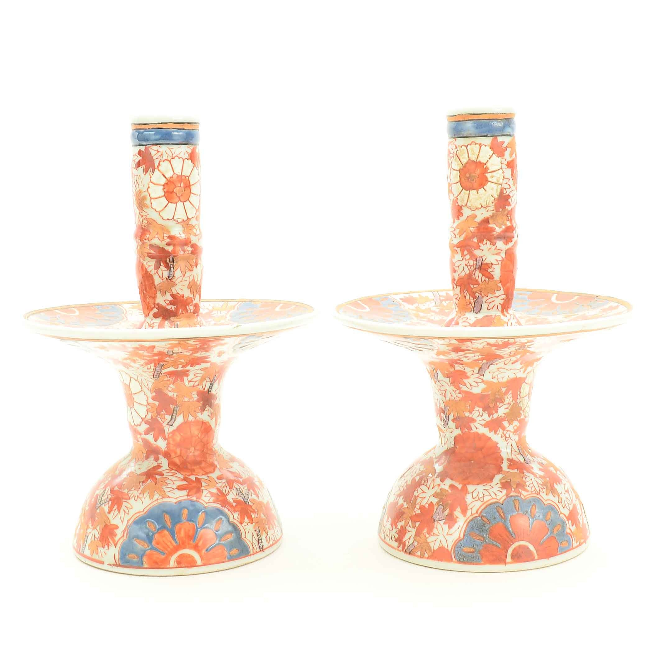 Chinese Imari Style Hand Painted Candle Holders