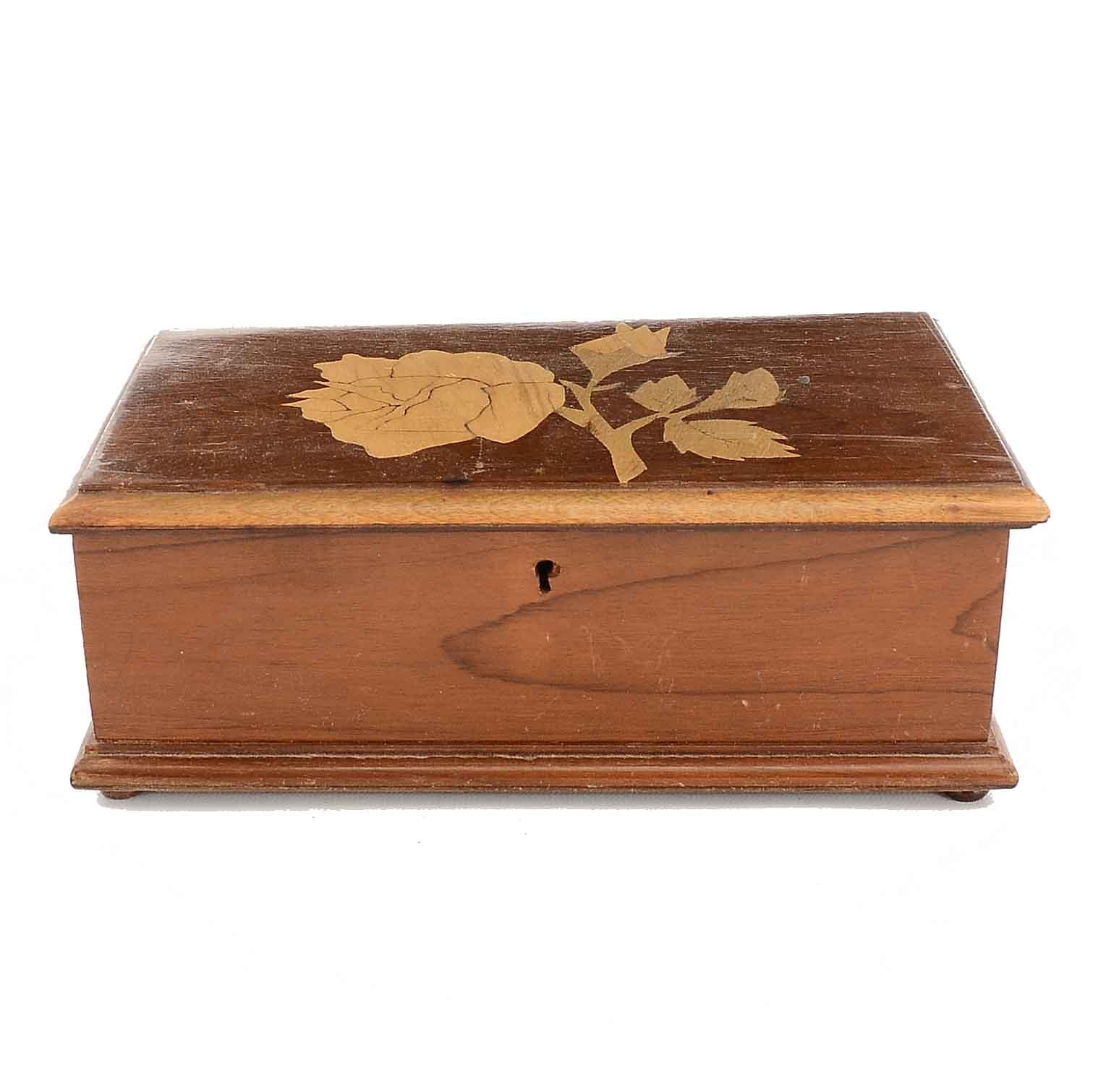Rose Inlaid Walnut Jewelry Box