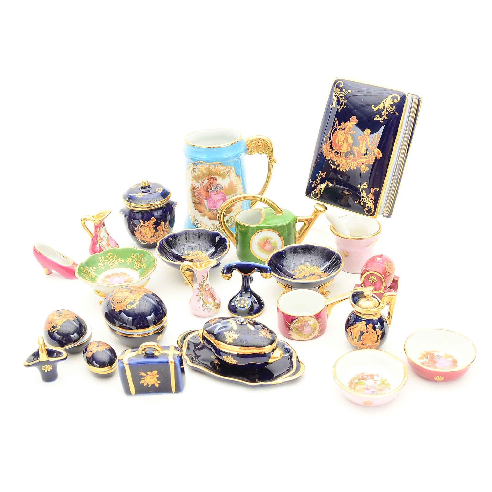 Porcelain Pitchers, Bowls and Eggs Featuring Limoges Miniatures