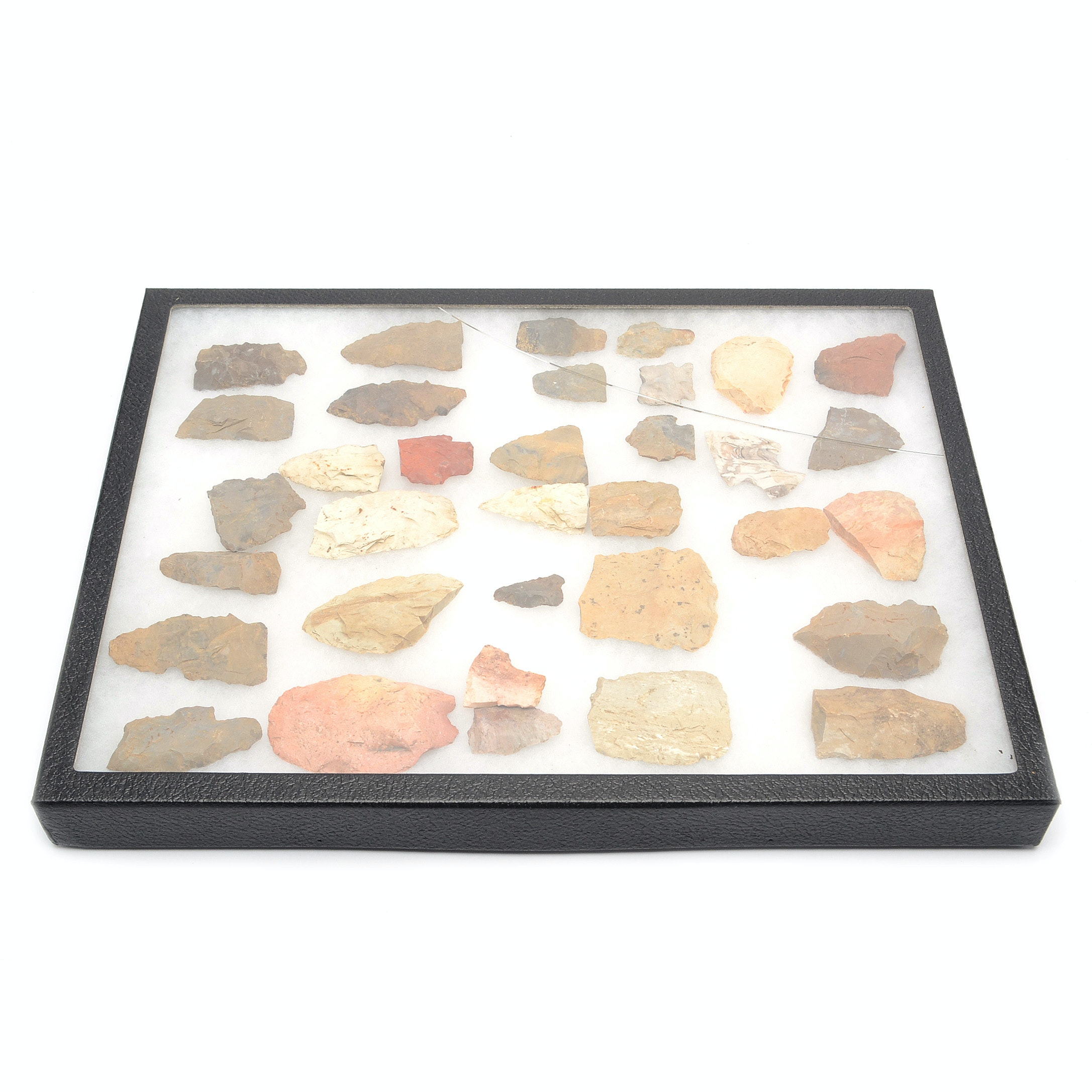 Knapped Points Collection in Display Case