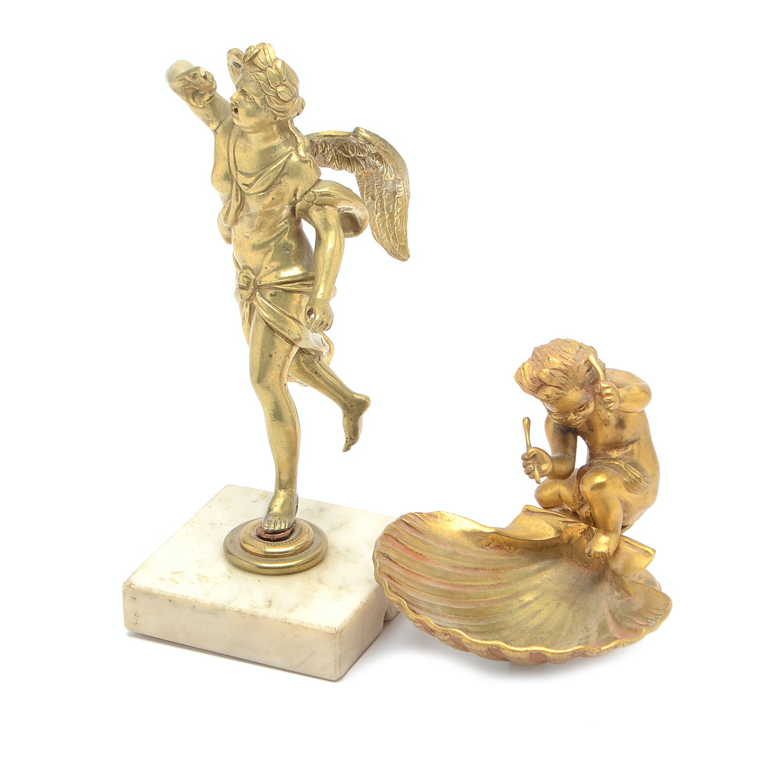 Bronze Putti with Scallop Shell and Winged Figure on Marble