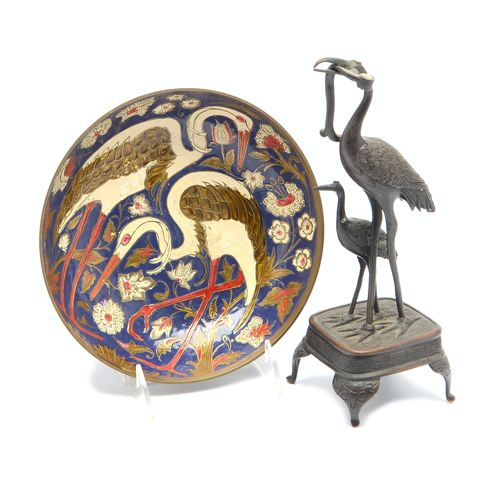 Asian Inspired Painted Metal bowl and Crane Statue