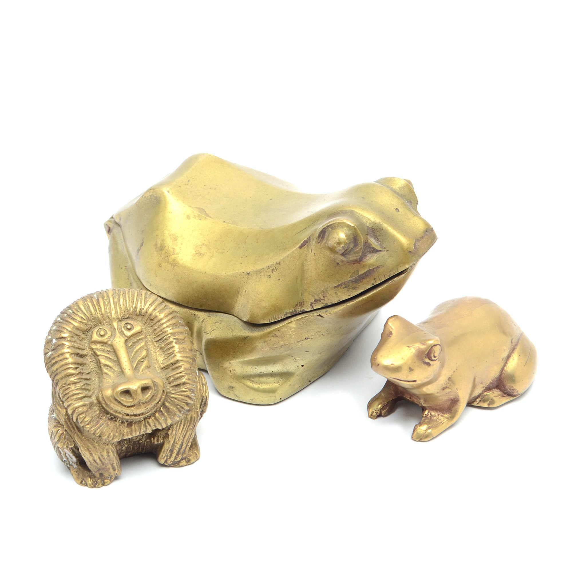 Cast Brass Frog Trinket Box and Two Paperweights