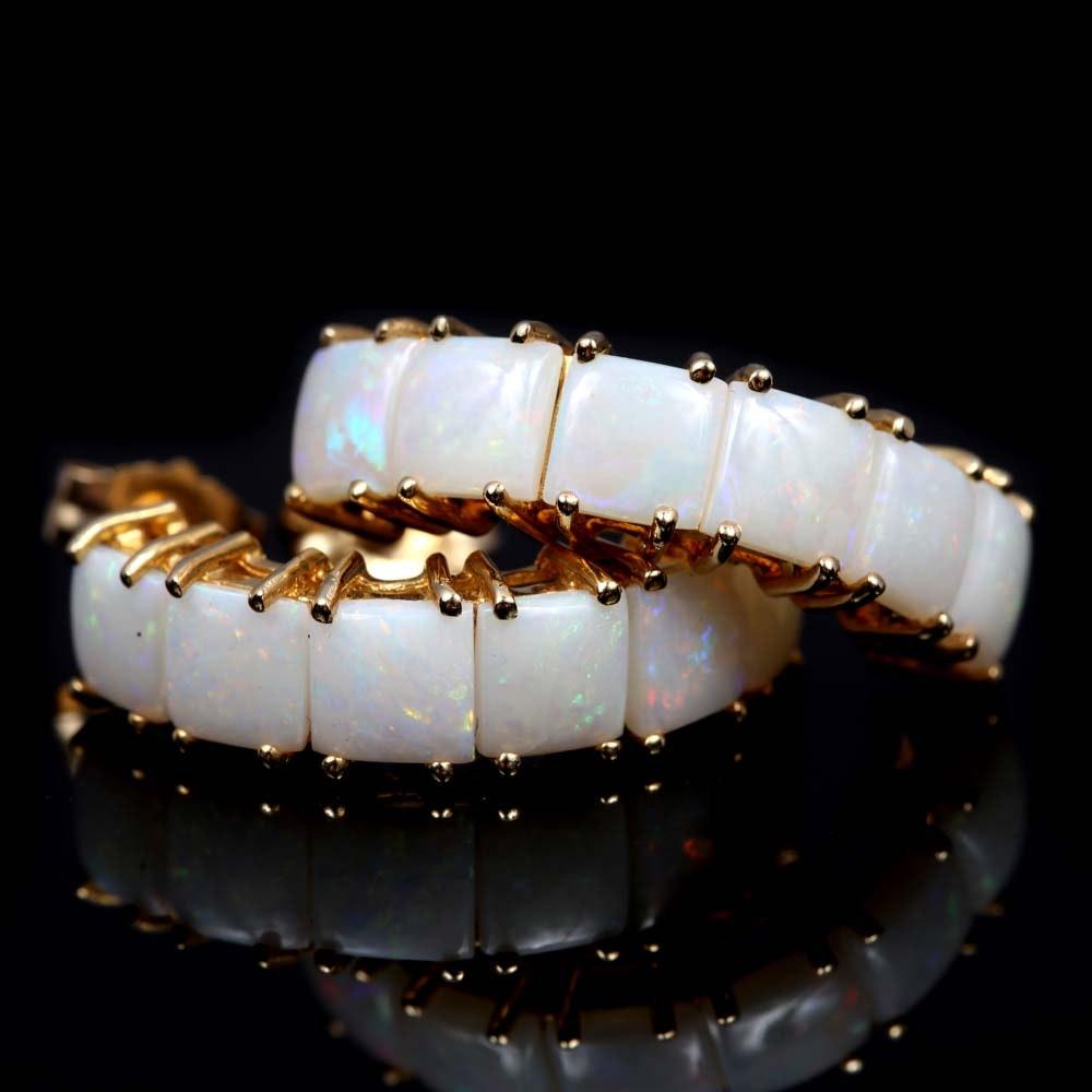 14K Yellow Gold 4.25 CTW Opal Curved Half Hoop Earrings