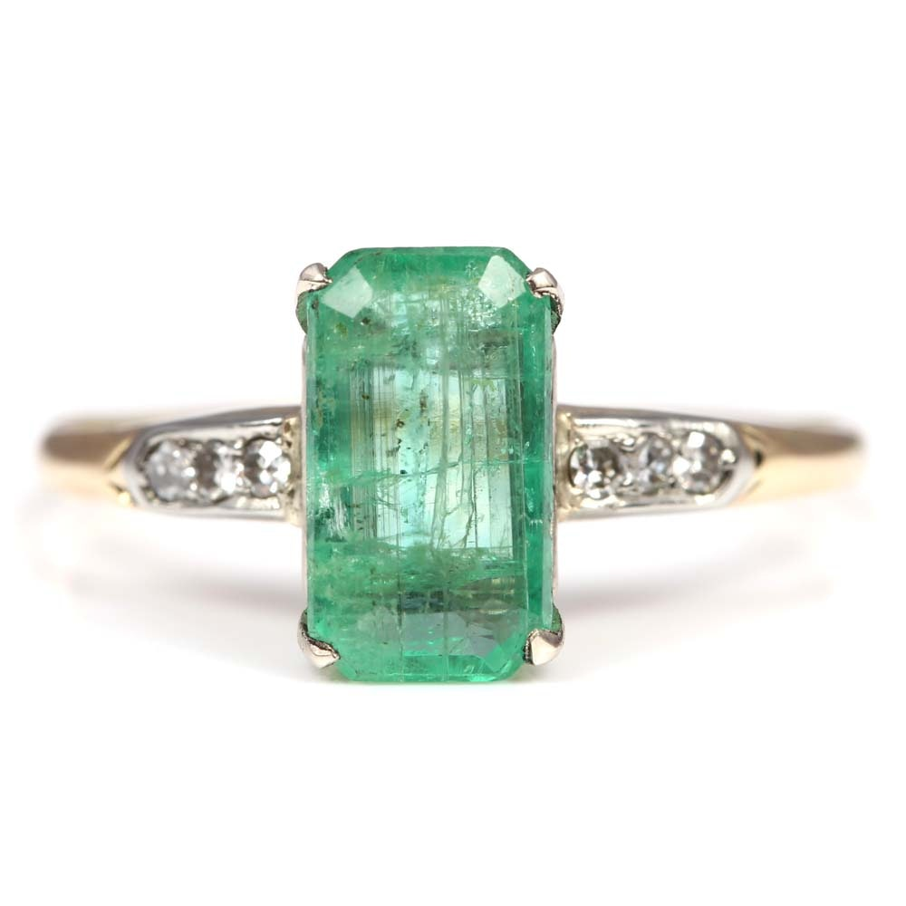 14K Yellow Gold Emerald and Diamond Ring with 18K White Gold Prongs