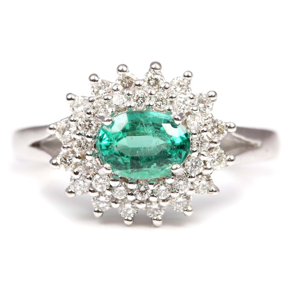 18K White Gold Emerald and Double Diamond Halo Ring