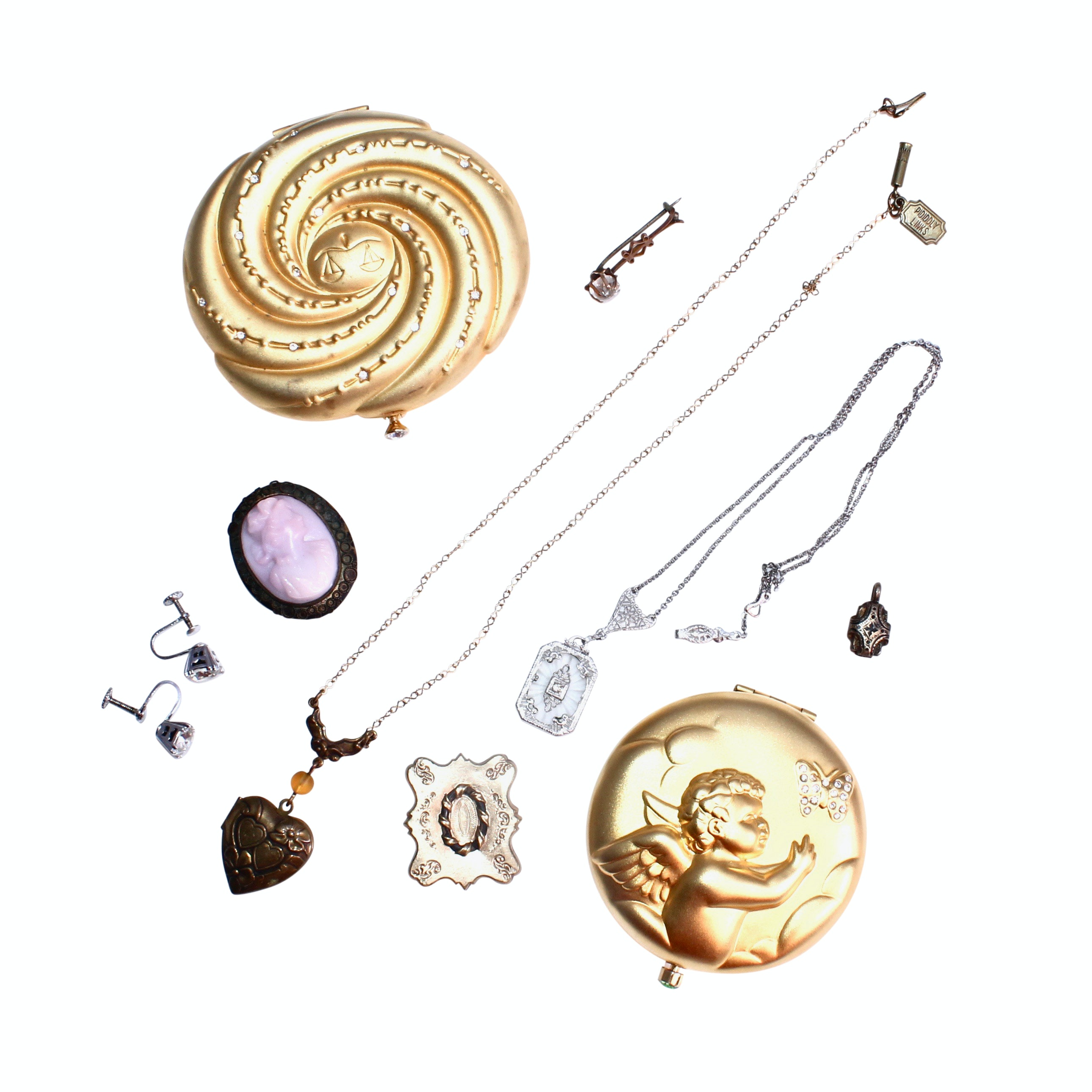 Jewelry Including Cameo Brooch and Compacts