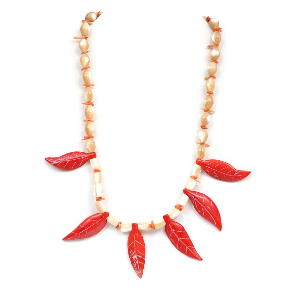 Sterling Silver Mother of Pearl and Coral Necklace
