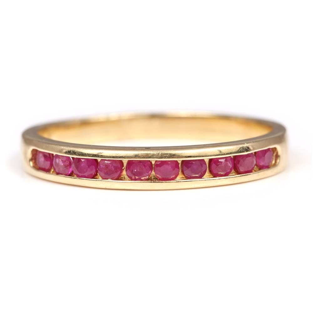 14K Yellow Gold Channel Set Ruby Band