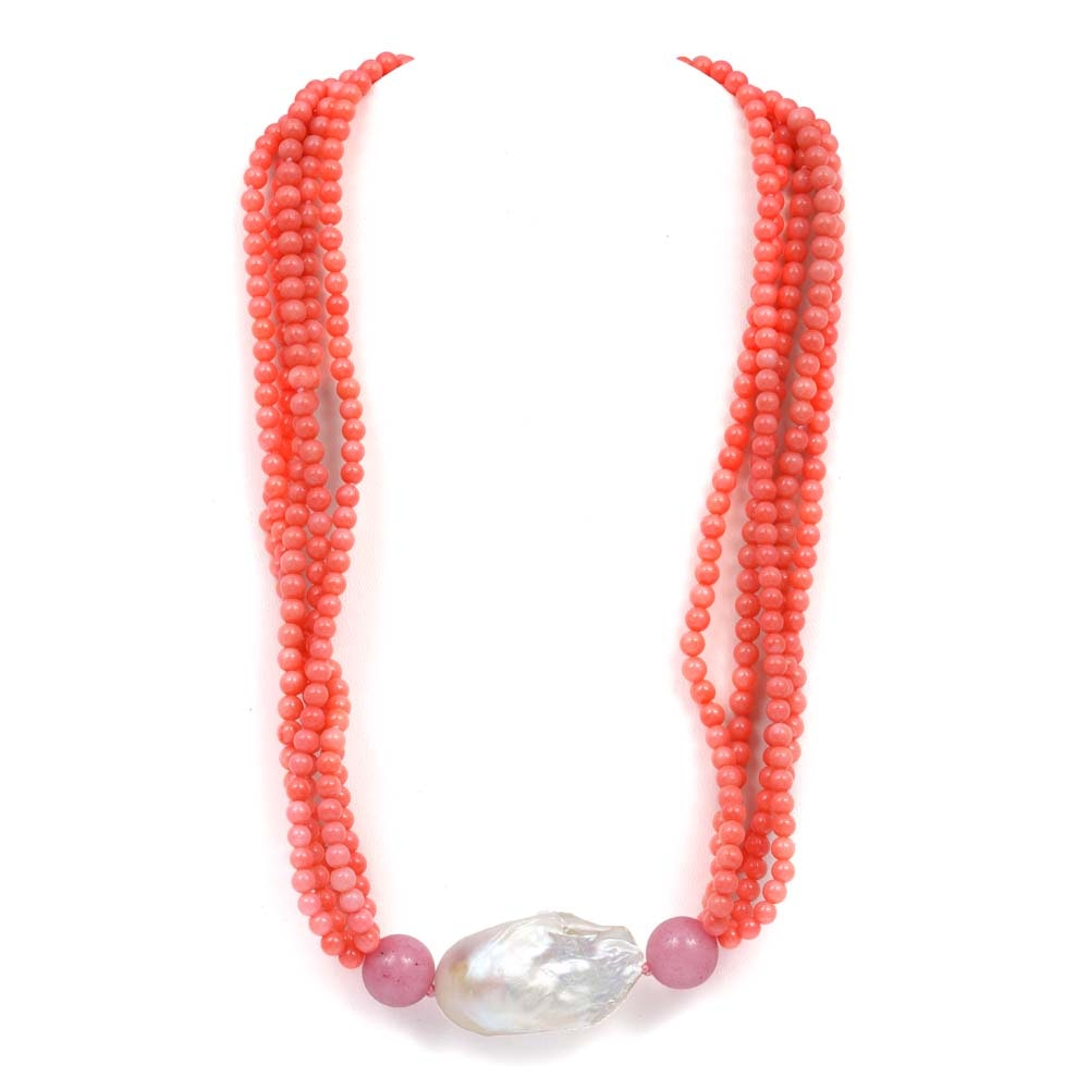 Twisted Five Strand Coral Bead, Dyed Quartz and Freshwater Pearl Necklace