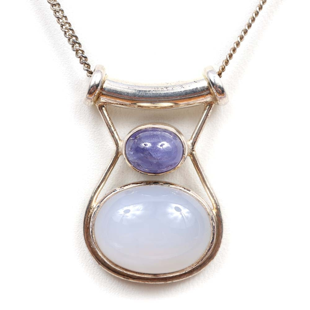 Sterling Silver Blue Chalcedony and Tanzanite Slide Pendant Necklace