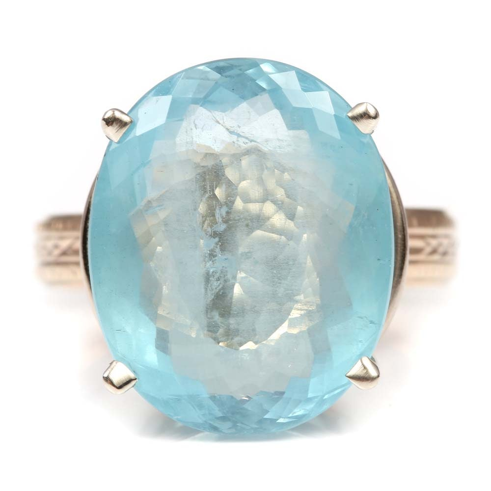 10K Yellow and White Gold 12.77 CT Aquamarine Ring