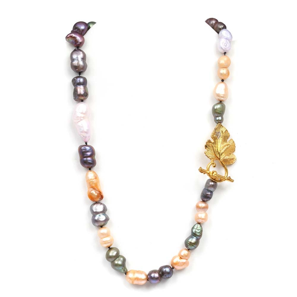 Multi-Color Freshwater Pearl Strand with Gold Plated Clasp
