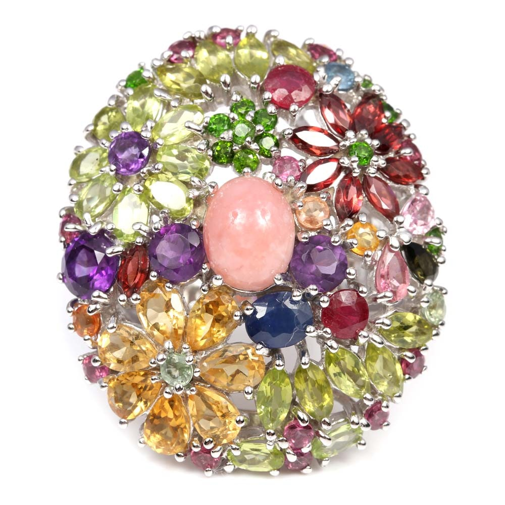Sterling Silver Oval Shaped Multi-gemstone Ring