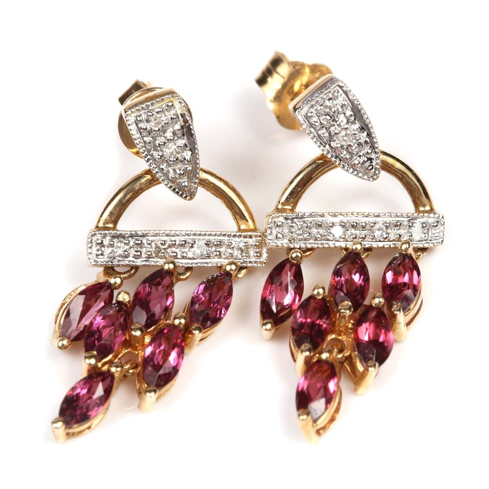 14K Yellow Gold Diamond and Garnet Dangle Earrings
