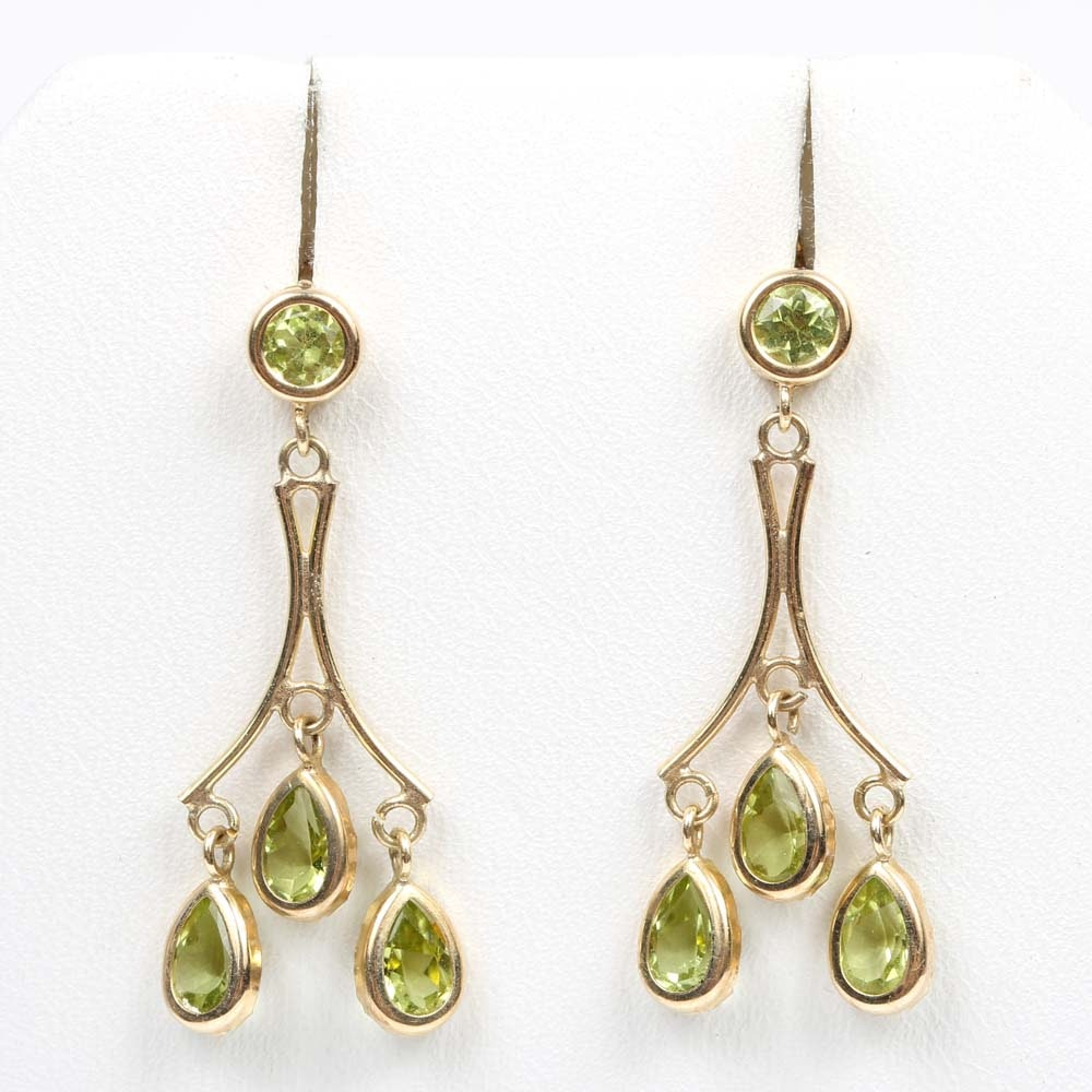 14K Yellow Gold 1.64 CTW Peridot Dangle Earrings