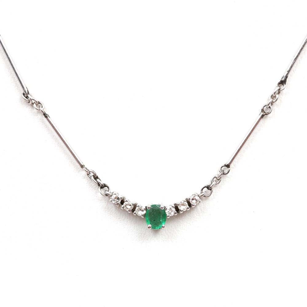 14K White Gold Emerald and Diamond Bar Link Pendant Necklace