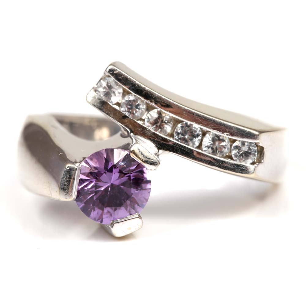 14K White Gold Amethyst and White Topaz Bypass Ring