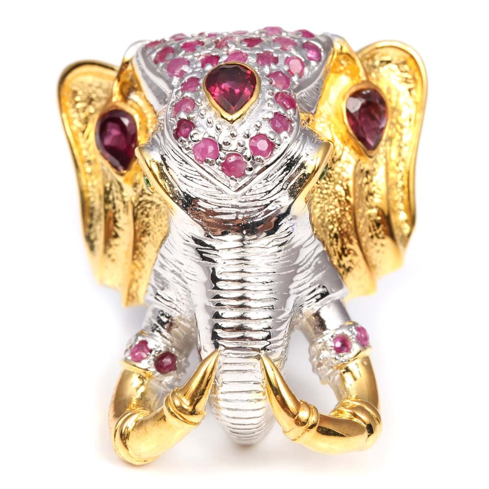 Sterling Silver Ruby, Garnet, and Peridot Elephant Head Ring