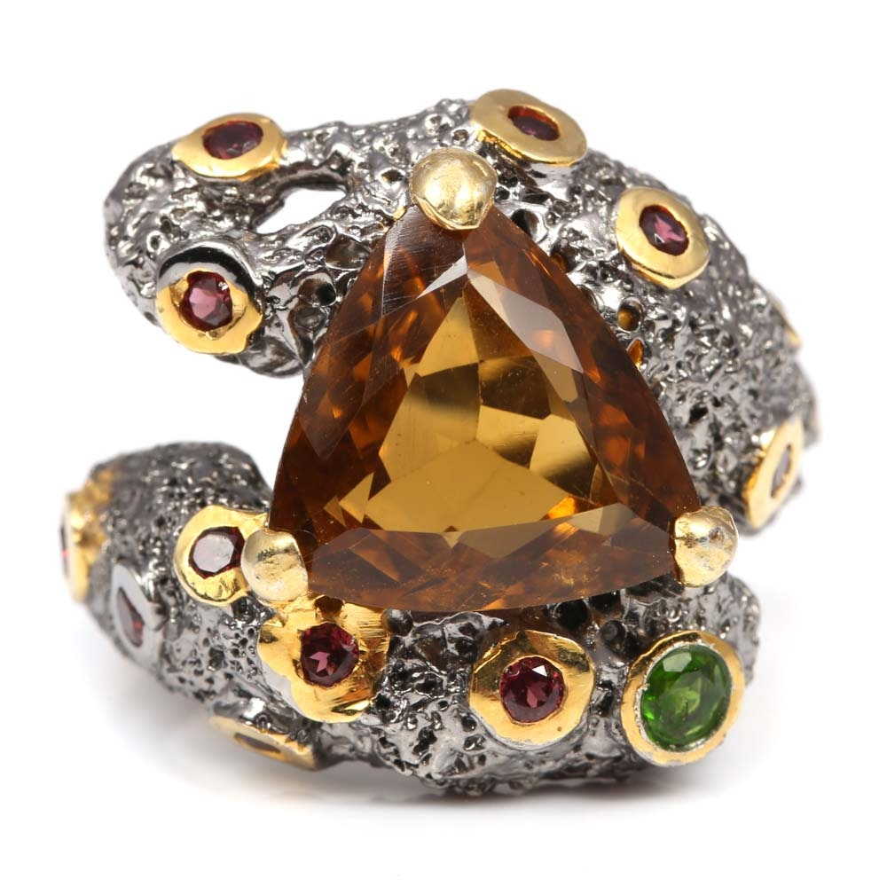 Oxidized Sterling Silver Citrine, Peridot, and Garnet Textured Ring