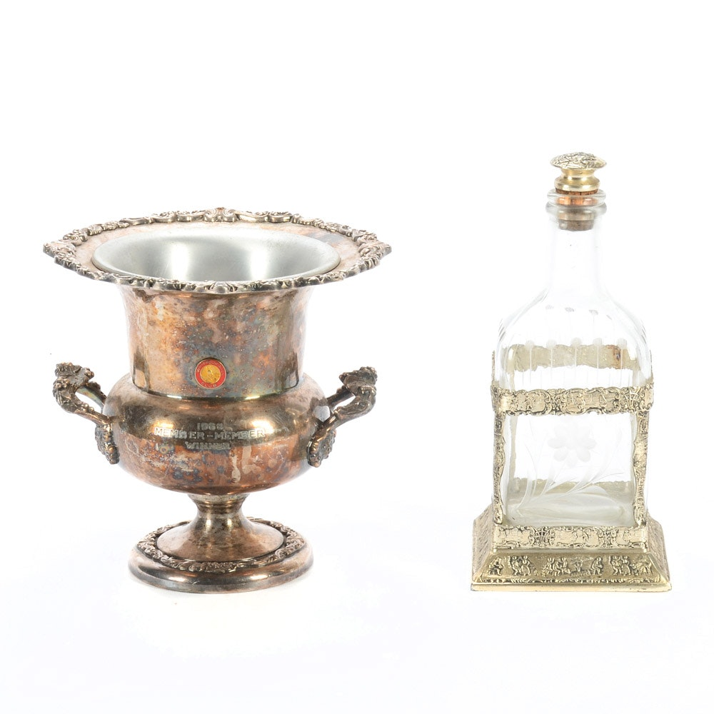Silver on Copper Trophy Champagne Bucket and Decanter with Caddy