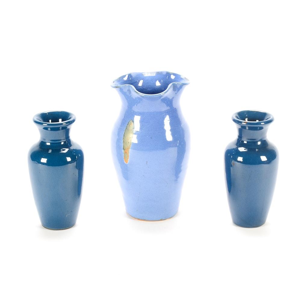 Wheel Thrown Stoneware Blue Vases