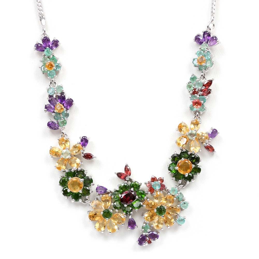 Sterling Silver Multi-gemstone Flower Necklace