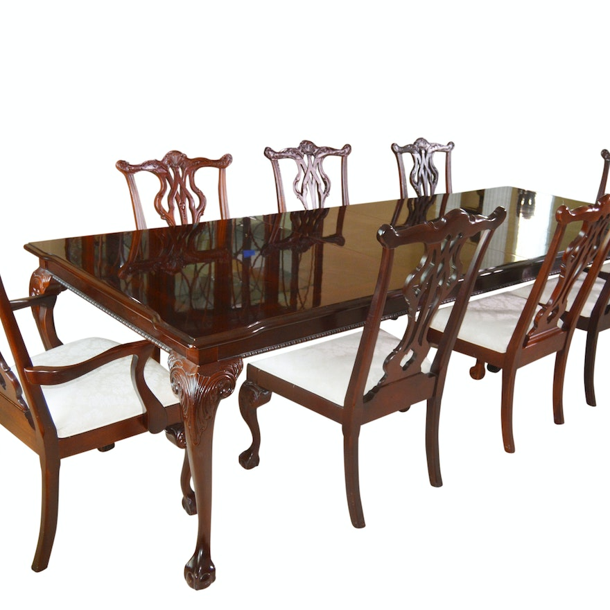 Cool Thomasville Chippendale Style Dining Room Table And Chairs Download Free Architecture Designs Madebymaigaardcom