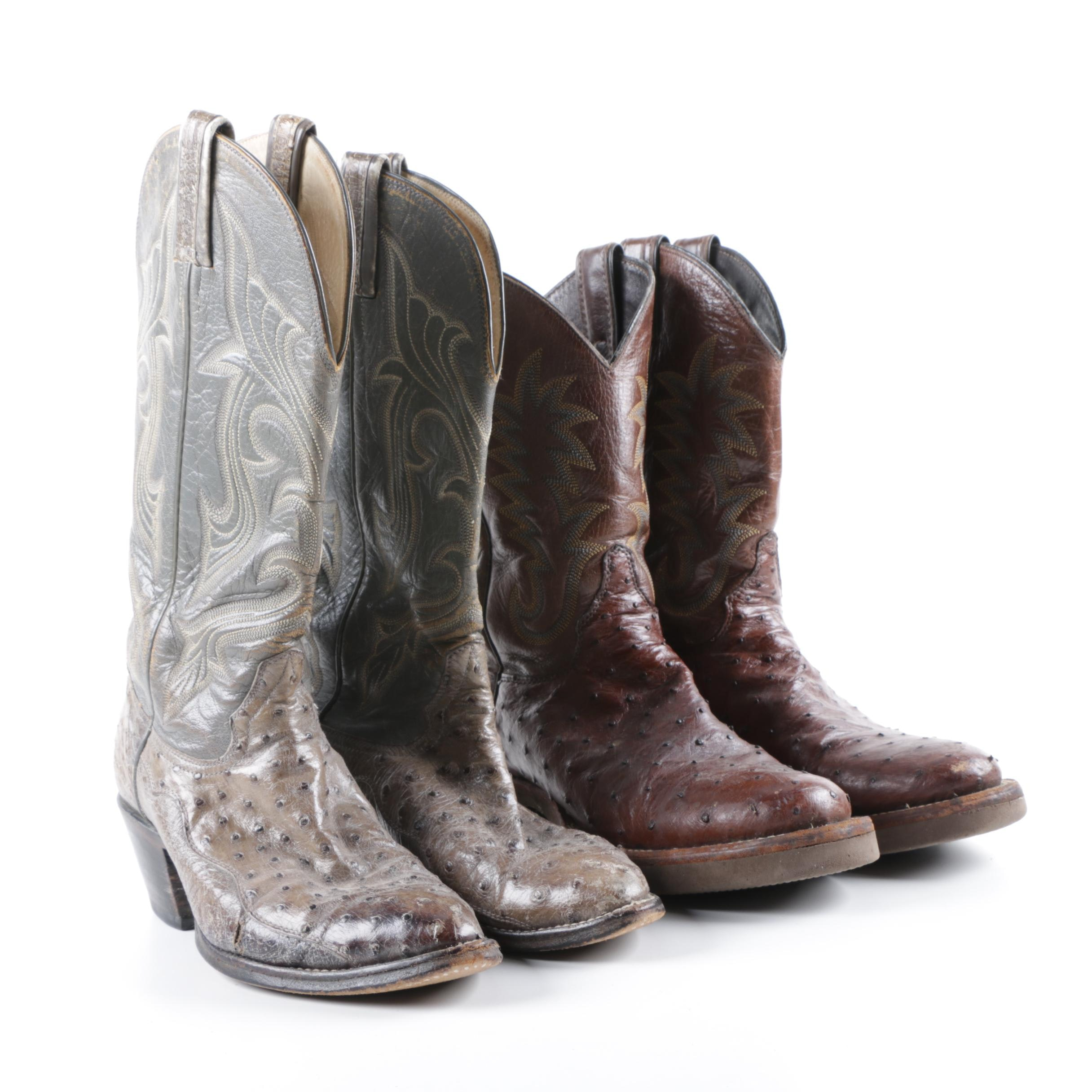 Men's Vintage Hondo Boots and Justin Ostrich and Leather Cowboy Boots