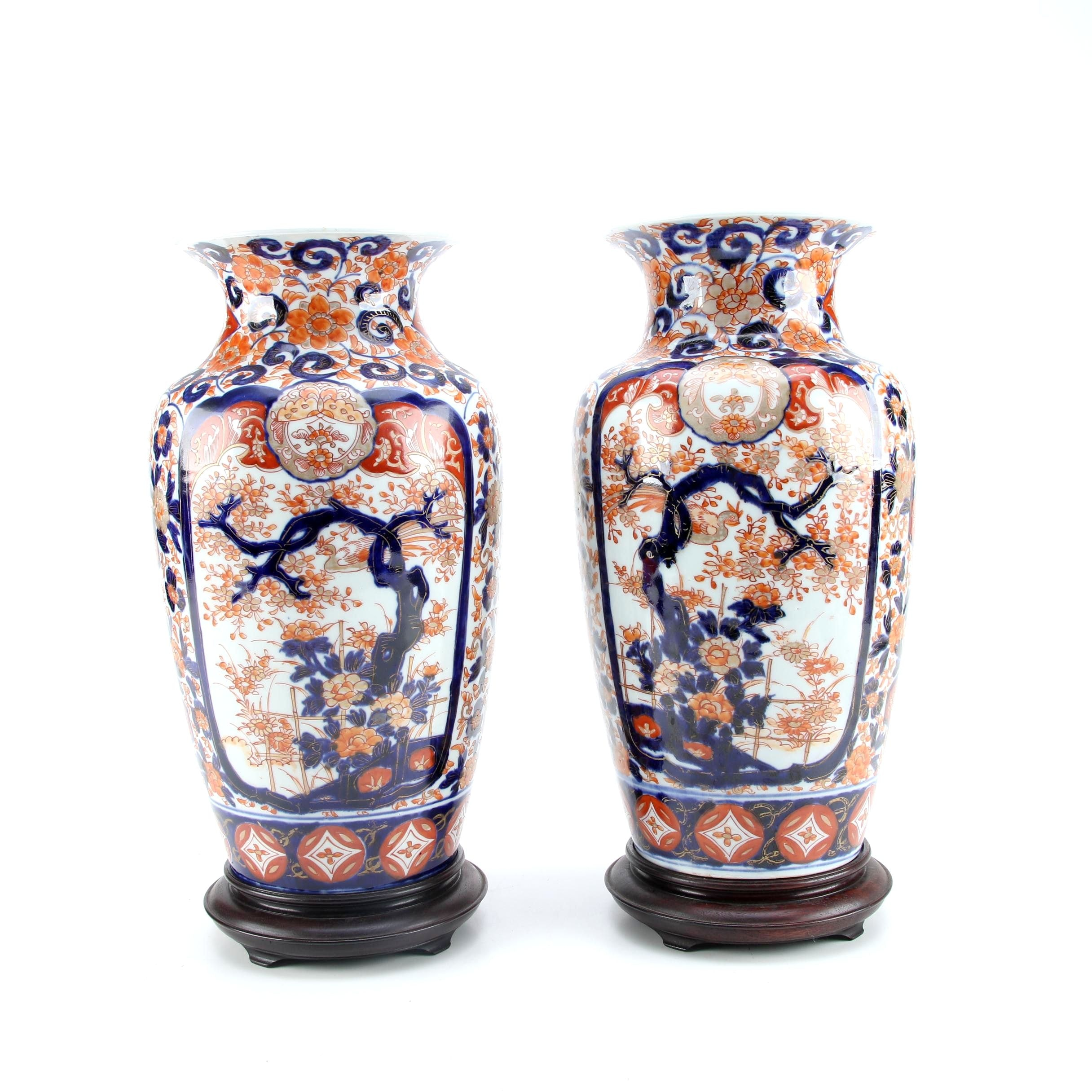 Japanese Imari Porcelain Vases and Stands