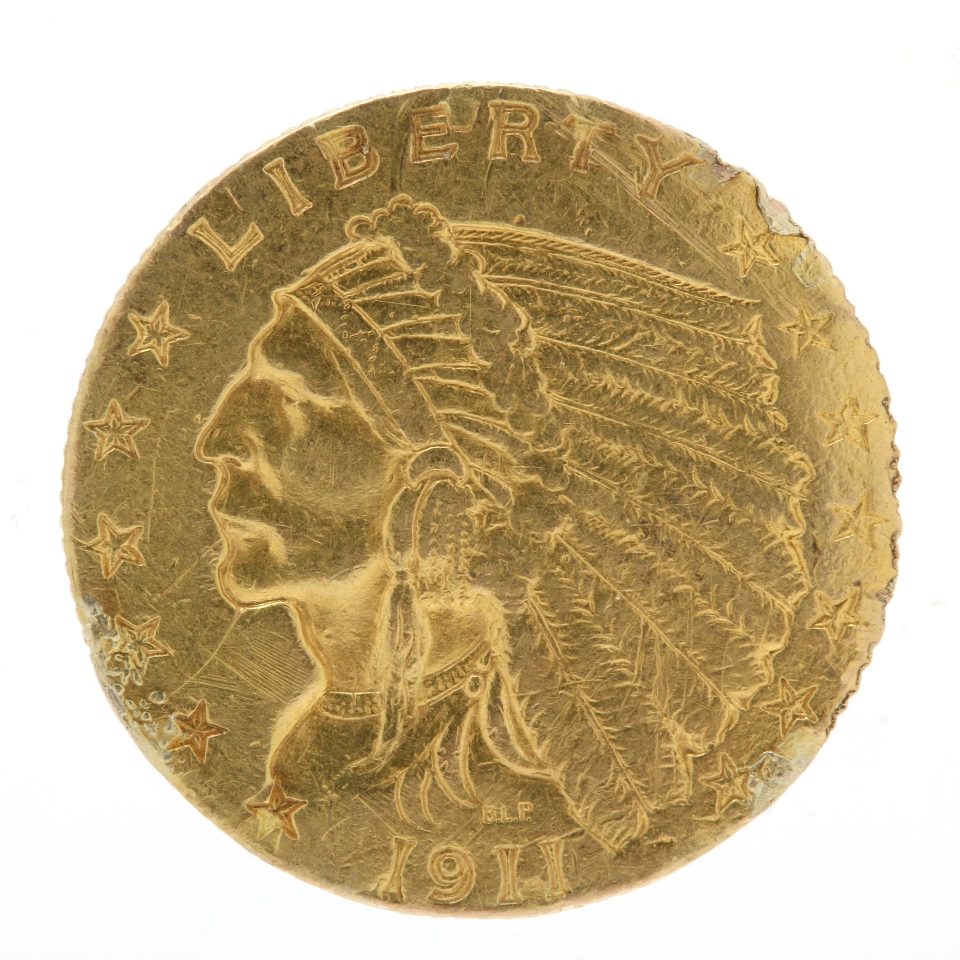 1911 Indian Head $2.50 Quarter Eagle Gold Coin